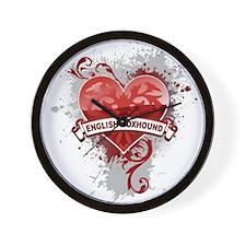 Heart English Foxhound Wall Clock