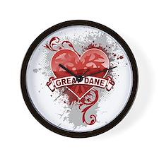 Heart Great Dane Wall Clock