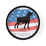 Patriotic Rottweiler Wall Clock