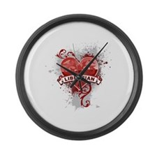 Heart Librarian Large Wall Clock