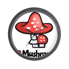 I Love Mushrooms Wall Clock