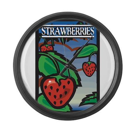 Strawberries Large Wall Clock