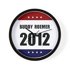 Red Blue Stars Buddy Roemer Wall Clock