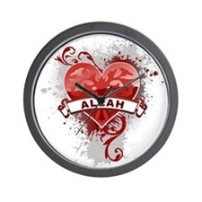 Heart Allah Wall Clock