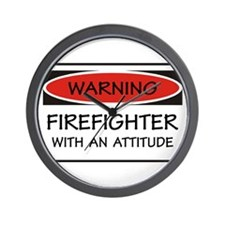 Firefighter With An Attitude Wall Clock