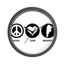 Peace Love Argentina Wall Clock