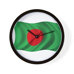 Wavy Bangladesh Flag Wall Clock