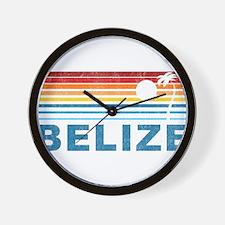 Retro Belize Palm Tree Wall Clock