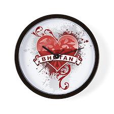 Heart Bhutan Wall Clock