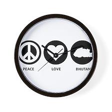 Peace Love Bhutan Wall Clock