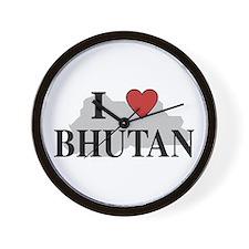 I Love Bhutan Wall Clock