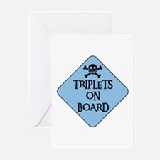 WARNING: TRIPLETS ON BOARD Greeting Cards (Package