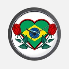 Love Brazil Wall Clock