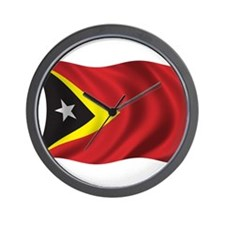 Wavy East Timor Flag Wall Clock