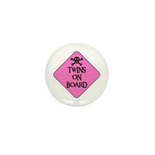 WARNING: TWINS ON BOARD Mini Button (10 pack)