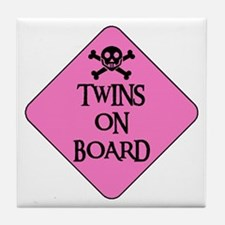 WARNING: TWINS ON BOARD Tile Coaster
