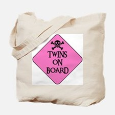 WARNING: TWINS ON BOARD Tote Bag
