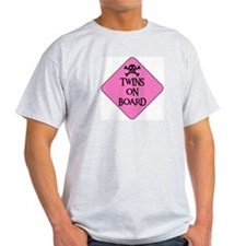 WARNING: TWINS ON BOARD Ash Grey T-Shirt