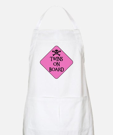 WARNING: TWINS ON BOARD BBQ Apron