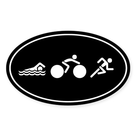 Swim Bike Run Icons Sticker (Oval)