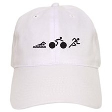 Swim Bike Run Icons Baseball Cap