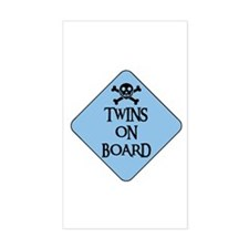 WARNING: TWINS ON BOARD Rectangle Decal