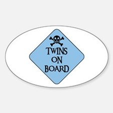 WARNING: TWINS ON BOARD Oval Decal