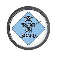 WARNING: TWINS ON BOARD Wall Clock