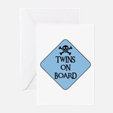 WARNING: TWINS ON BOARD Greeting Cards (Package of
