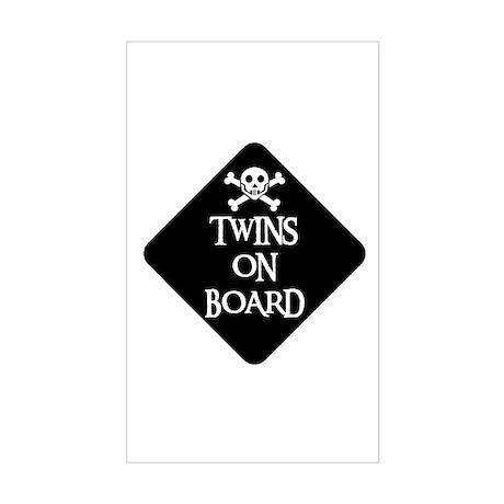 WARNING: TWINS ON BOARD Rectangle Sticker