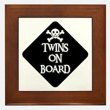 WARNING: TWINS ON BOARD Framed Tile