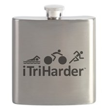 iTriHarder triathlon motto Flask