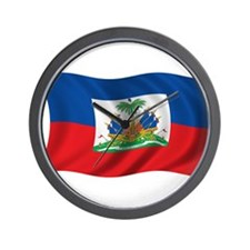 Wavy Haiti Flag Wall Clock
