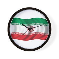 Wavy Iran Flag Wall Clock