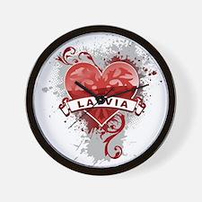 Heart Latvia Wall Clock