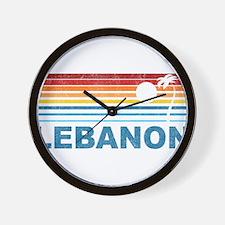 Retro Palm Tree Lebanon Wall Clock