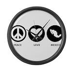 Peace Love Mexico Large Wall Clock