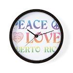 Peace Love Puerto Rico Wall Clock