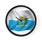Wavy San Marino Flag Wall Clock