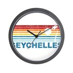 Retro Palm Tree Seychelles Wall Clock