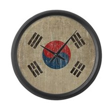 Vintage South Korea Flag Large Wall Clock