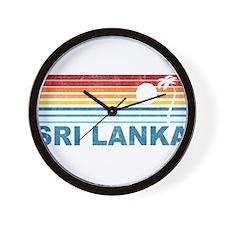 Retro Palm Tree Sri Lanka Wall Clock
