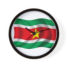 Wavy Suriname Flag Wall Clock