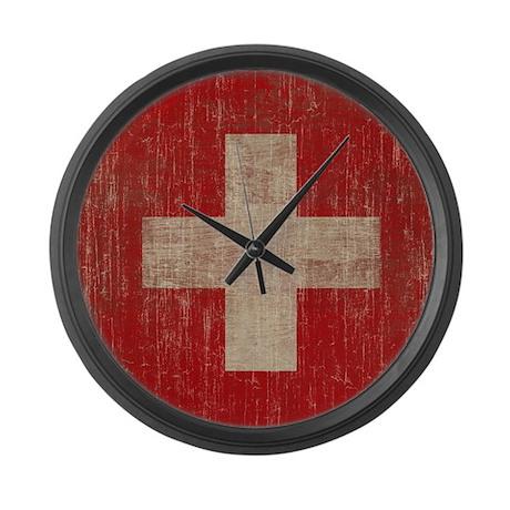 Vintage Switzerland Flag Large Wall Clock