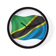 Wavy Tanzania Flag Wall Clock