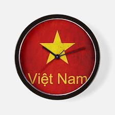 Grunge Vietnam Flag Wall Clock