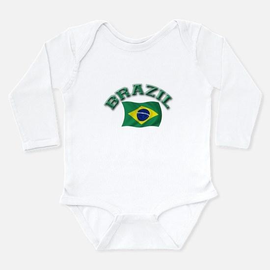 Cute Brazil flag Long Sleeve Infant Bodysuit