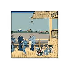 """Hokusai Sazai Hall Square Sticker 3"""" x 3"""""""