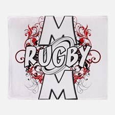 Rugby Mom (cross).png Throw Blanket