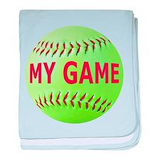 Softball My Game baby blanket